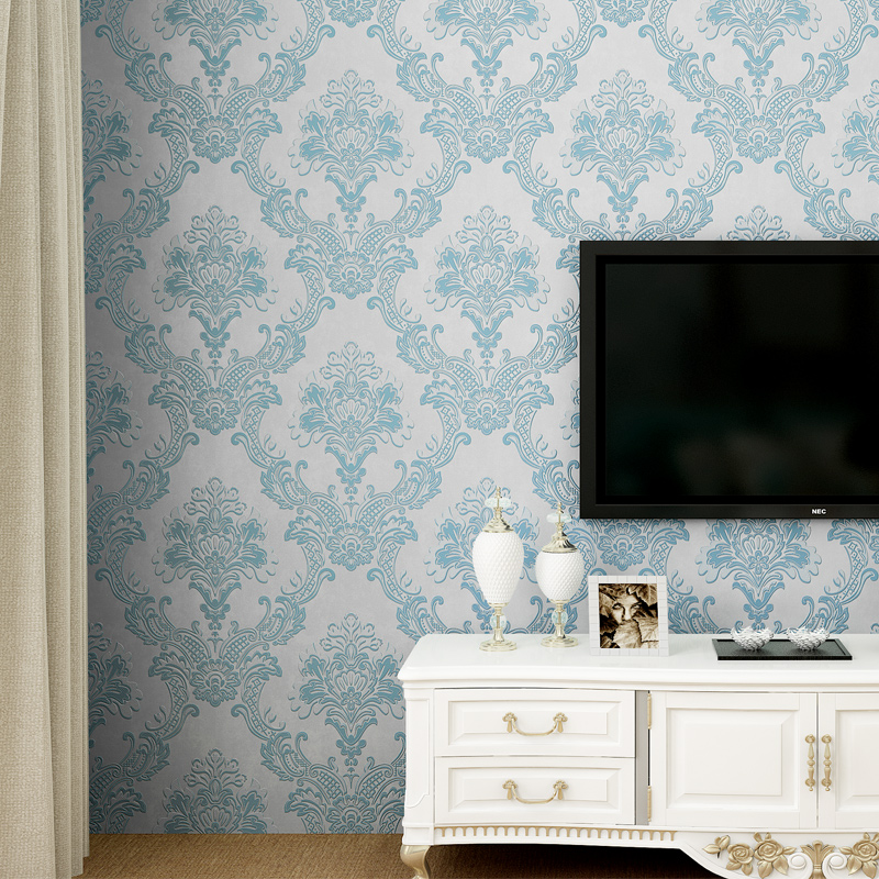 Non-woven european glossy stylish blue beige white modern damask wallpaper living room modern luxury wall paper for bedroom D43 creamy white living room bedroom damask wallpaper