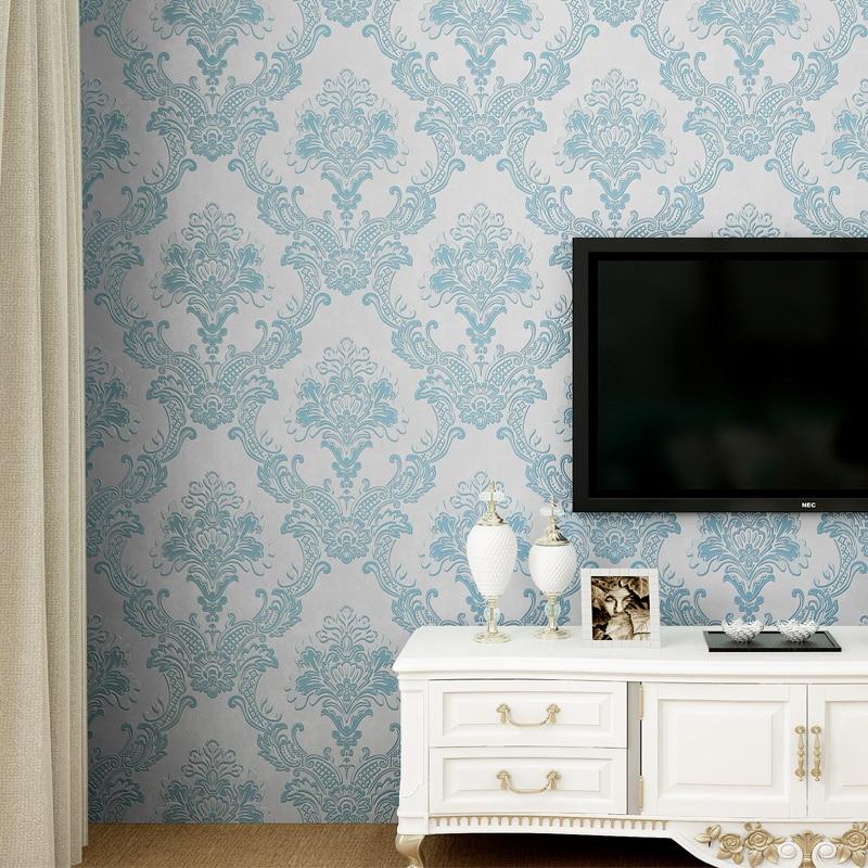 US $37.78 |Vlies europäischen glänzend stilvolle blau beige weiß moderne  damast tapete wohnzimmer modernen luxus wand papier für schlafzimmer D43-in  ...