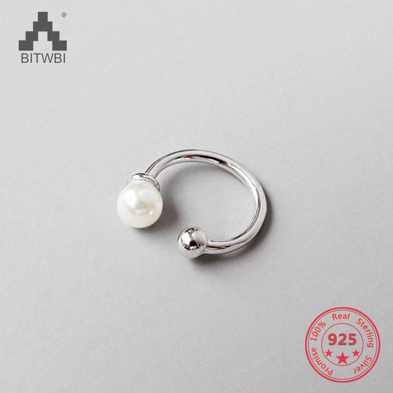 1 Stücke S925 Sterling Silber Kreis Weiß Perle Clip Ohrringe Ohr Manschette Für Frauen Dame Mädchen Ohr Schmuck Ein BrüLlender Handel