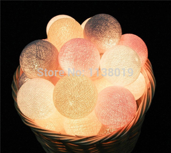 20 Balls/pcs Vintage/sweet  Pastel Tone / Pure White Cotton Ball String Fairy Lights Party Home Patio Wedding Romantic Decor