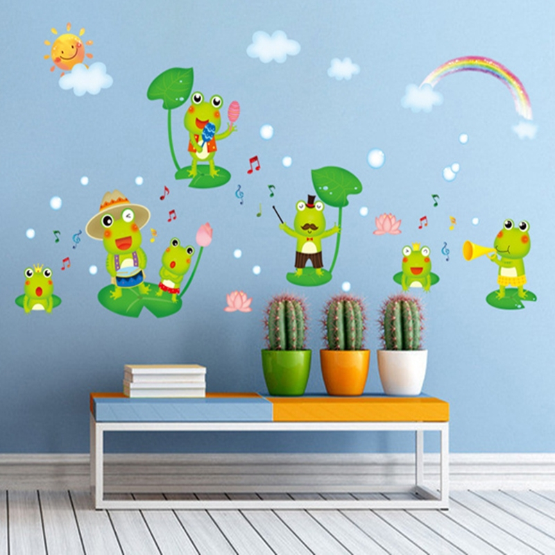 frog common pond frog sticker home decoration wall nursery adhesive cute home decorative baby sticker xy3015