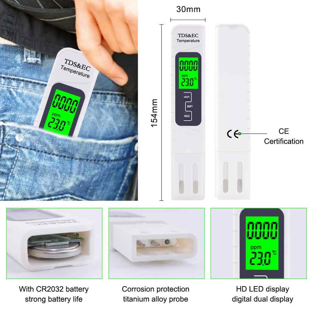 3 in 1 Water Quality Tester EC TDS 19999 PPM Temperature Conductivity Detection Pen Digital Portable Filter Tool