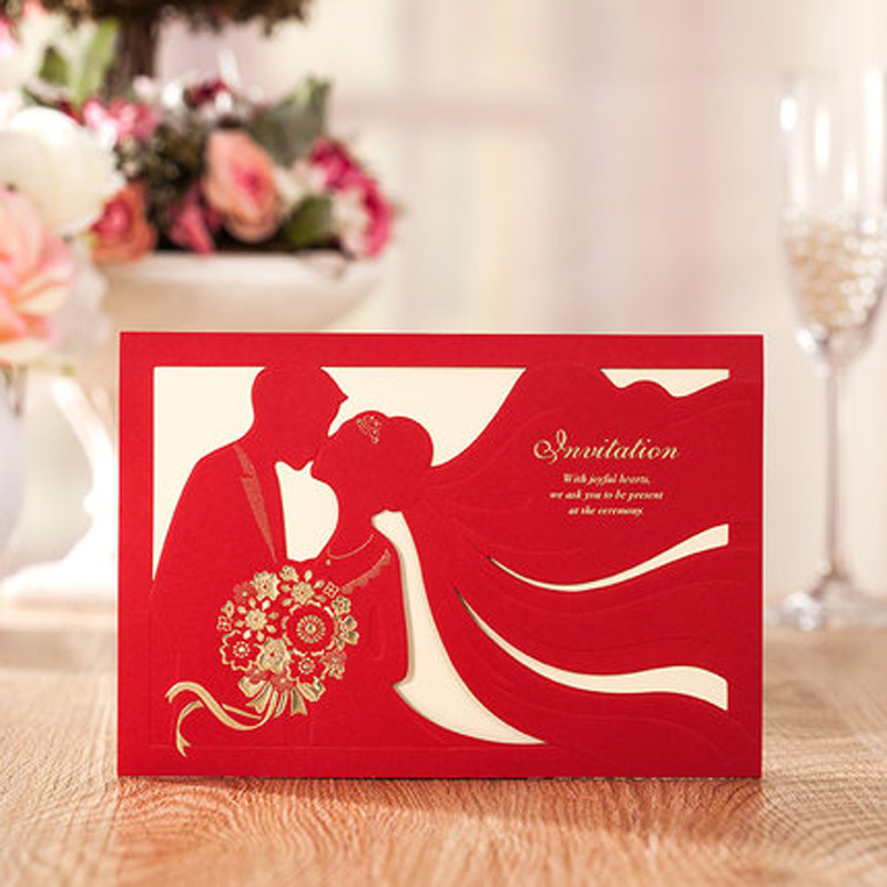 Cheap Wedding Invitation Paper: Cheap Sweet Bride & Groom Wedding Invitation Cards+Free