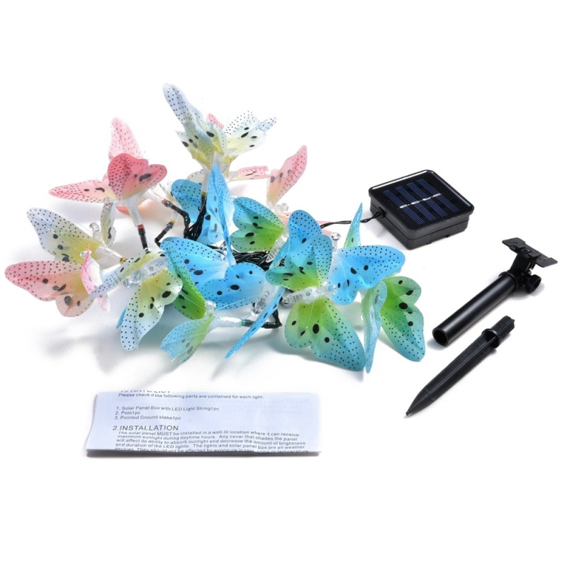 Outdoor Solar Power String Lights Fiber Optic Butterfly LED Decorative Fairy Lights Waterproof For Home Patio Garden TreeOutdoor Solar Power String Lights Fiber Optic Butterfly LED Decorative Fairy Lights Waterproof For Home Patio Garden Tree