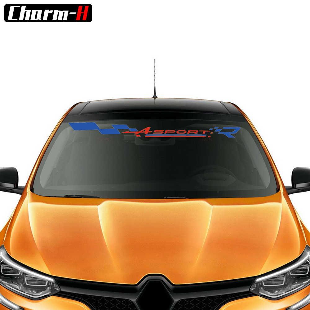 1 pieza de ventana frontal con Logo de winsheild Banner pegatinas de vinilo para Renault Clio R. S Twingo medane capture Sun pegatinas para visera