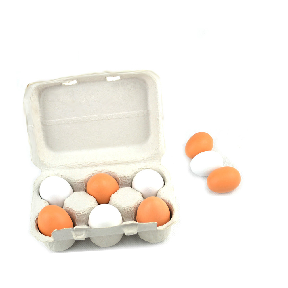 Kitchen Food Cooking Toy Wooden Eggs Yolk Pretend Play Toy Set (6 Eggs) Birthday Christmas Gift For Baby Kids