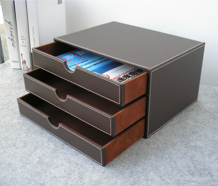 Popular leather file cabinet buy cheap leather file - Desk drawer organizer ...