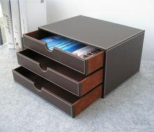 Горизонтальный 3-слойная 3-ящик деревянный тельству кожа стол подачи шкаф ящик для хранения офисной организатор документ контейнер brown217B