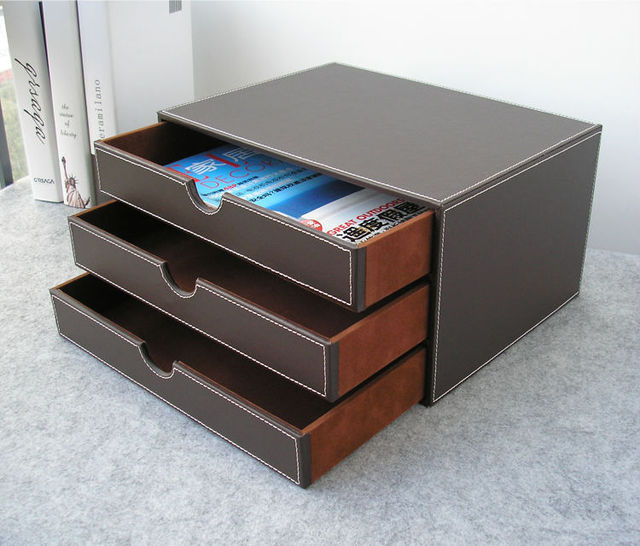 Horizontal 3 Layer 3 Drawer Wood Struction Leather Desk Filing Cabinet  Storage Box Office