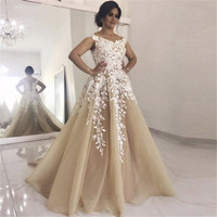 Robe De Mariee Champagne Arabic Wedding Dresses 2019 Exquisite Lace Tulle A Line wedding gowns Custom Made Vestido De Noiva