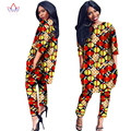African Clothes Two Pieces Set Threee Quarter Sleeve Outwear Women Shirt Dress and Long Pants with Pocket Plus Size 6XL WY1091