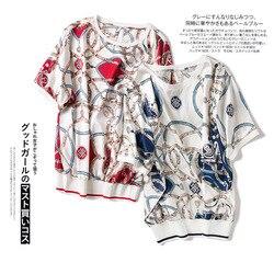 Nueva ropa de mujer Estados productos de gama alta impreso seda cuello pico cadena manga