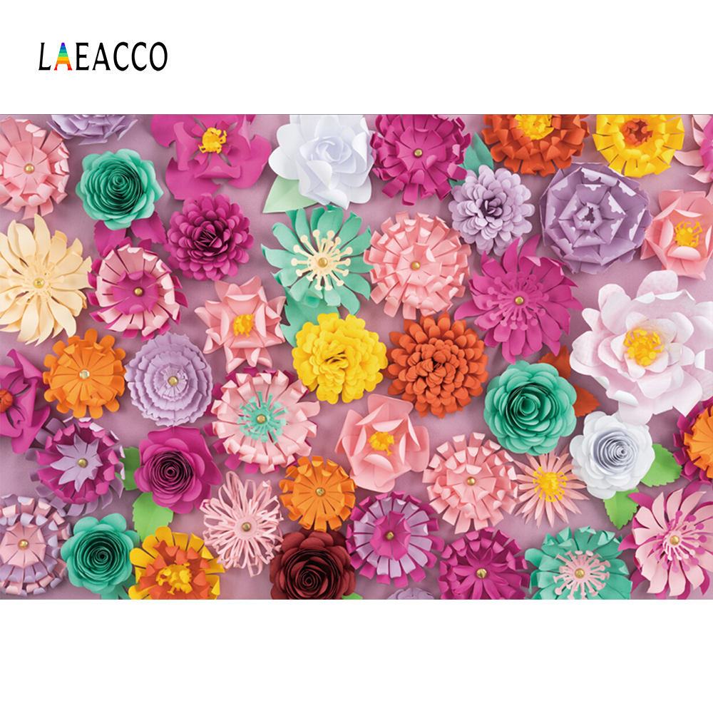 Laeacco Handmade Colorful Paper Flowers Baby Newborn Photography Backgrounds Customized Photographic Backdrops For Photo Studio