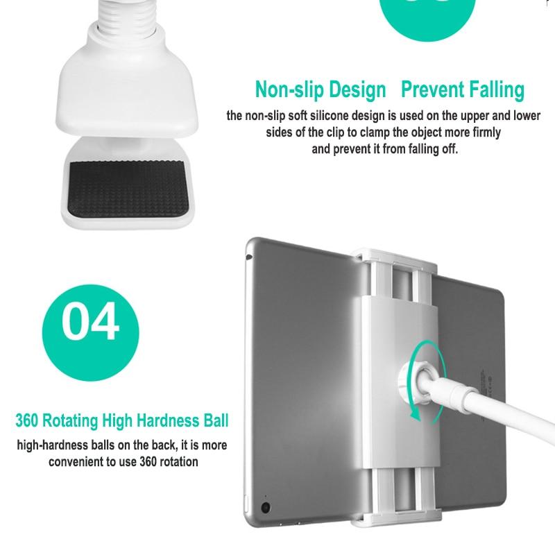 פנסים מופעלי סוללות Tablet מחזיק 85 / 130cm הזרוע הארוכה מיטה / שולחן קליפ אינץ Bracket For3.5 כדי 10.6 אינץ iPad Air מיני Xiaomi Mipad קינדל טלפון Tablet (2)