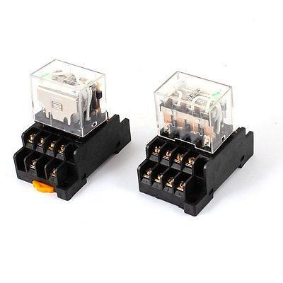 HH64P DC 24V Coil 4PDT 14Pin 35mm DIN Rail Electromagnetic Power Relay 2 Pcs not guilty homme бермуды