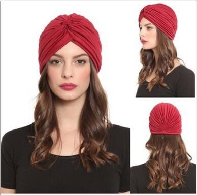 1pcs Women India Caps Retro Headband Hijab Muslim Turban All-match Solid Pleated Headwear Vintage Beanies Hat 2016 New Cheap Hot