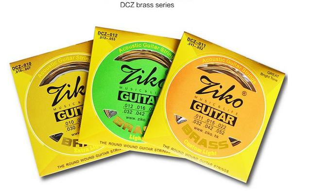 1sets Wholesale Acoustic Guitar Strings Dcz 010 011 012 Brass Ziko
