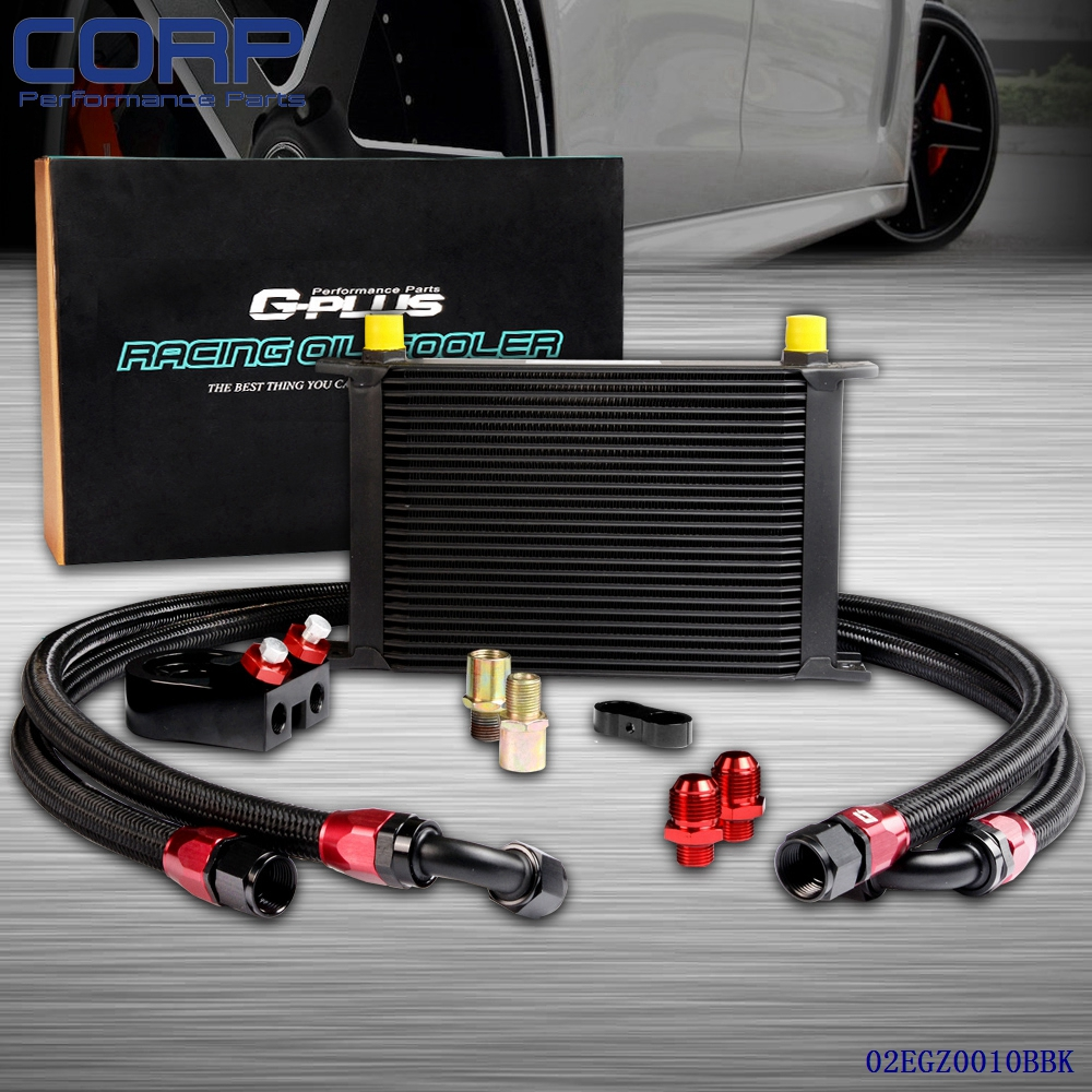 25 Row AN-10AN Universal Engine Transmission Oil Cooler + Filter Relocation Kit