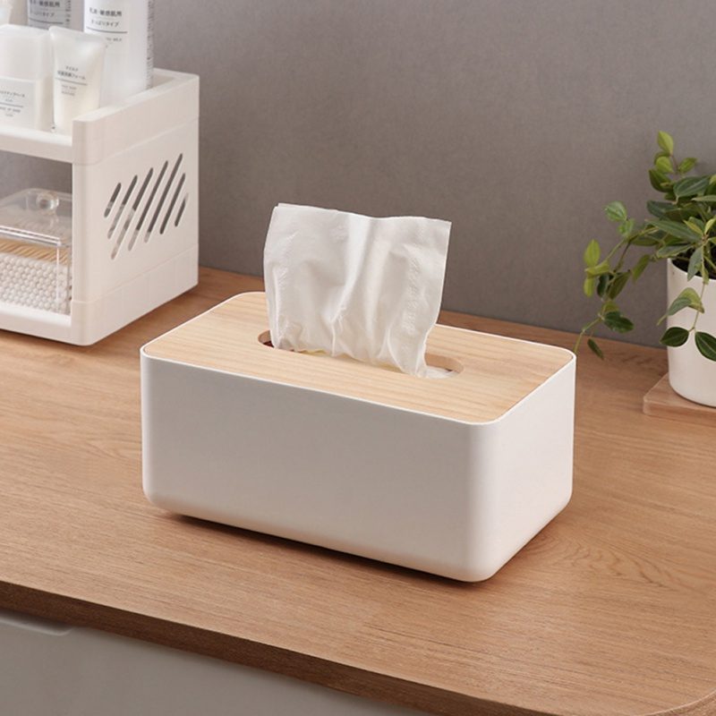 Storage-Box Wood-Tissue-Box Organization Creative Tray Multi-Purpose Home