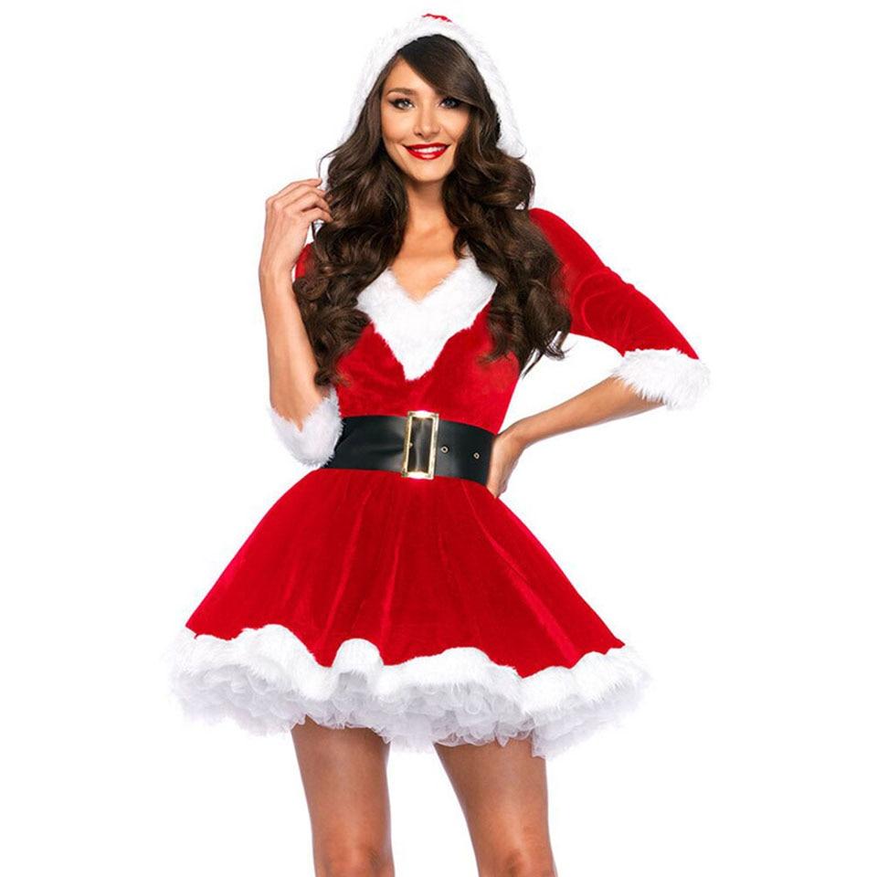 MQUPIN Fashion Sexy Santa Claus Red Velvet V neck Half sleeve One piece Hat Dress Santa Baby Velvet Christmas Holiday Dress