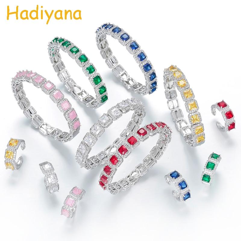 Hadiyana Charm Women Jewelry Bangle Ring Sparkling Zirconia Multi Stone Women Bangle Ring Set Noble Lady Best Gift SZ2101