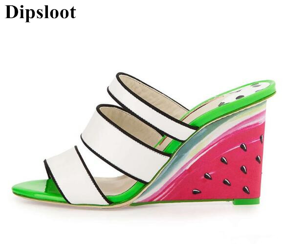 Dipsloot New Design Watermelon Wedges High Heels Dress Runway Shoes Woman Peep Toe Summer Slippers Sandals Woman Slip-on Shoes dipsloot 2017 hot open toe lace up woman summer sandals fashion mixed color dress shoes woman wedges shoes lady sandals boots