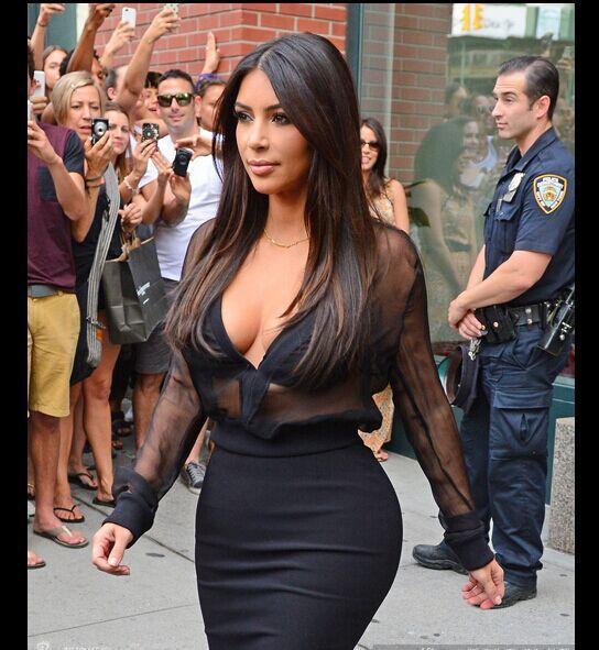 Kim Kardashian Deep V-neck long sleeve Dresses 2