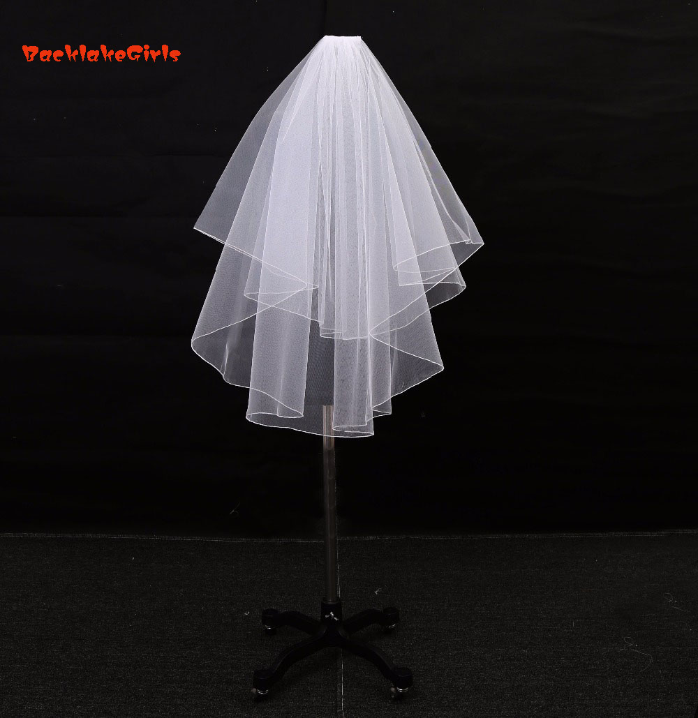 BacklakeGirls Short Ivory White Bridal Veils Cheap Veu De Noiva Weddings Accessories Curto High Quality Wedding Veil With Comb