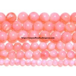 Cuentas sueltas redondas de concha de perla China Natural, Color rosa teñido, envío gratis, tamaño a elegir de 4, 6 y 8 MM para fabricación de joyas