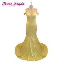 黄色ハイカラーホルターマーメイドスリムドレスドレス衣装カスタマイズ可能な