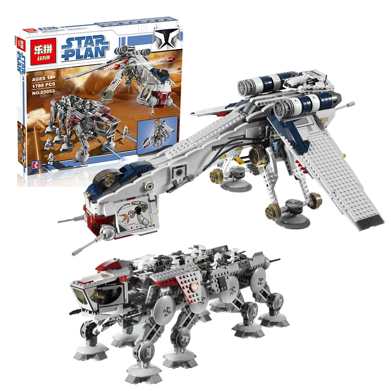 Lepin 05053 New 1788Pcs Genuine Star War Series The Republic Dropship Set Building Blocks Bricks Compatible legoed 10195 new lepin 16009 1151pcs queen anne s revenge pirates of the caribbean building blocks set compatible legoed with 4195 children
