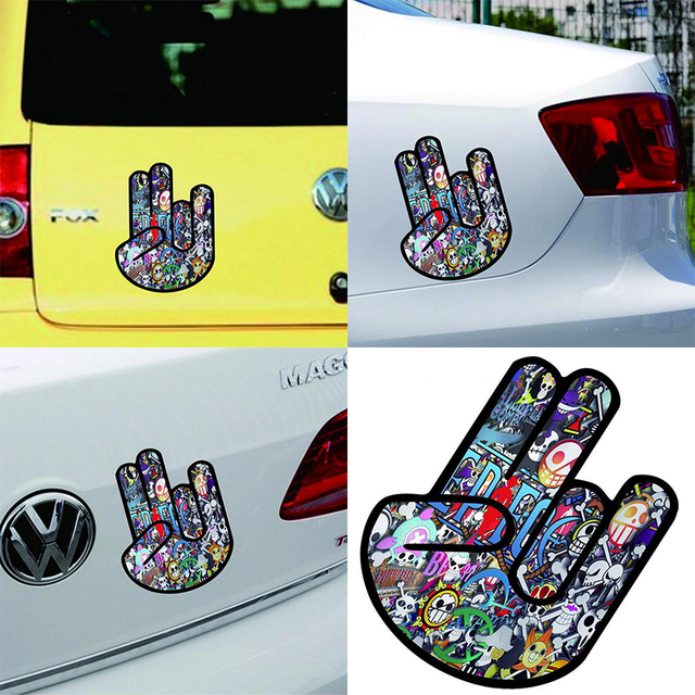 New funny unique car sticker colorful palm car hoods trunk thriller rear window decal car decal