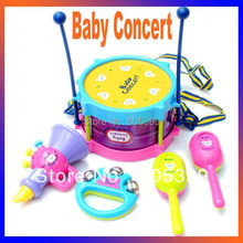 Noise Maker Baby toy concert child musical instrument baby hand drum set 5 piece set drum sand hammer rattles(China)