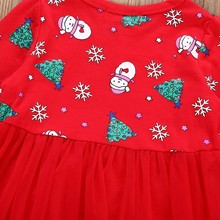 Long Sleeve Cartoon Snowman Print Dress Christmas Clothes
