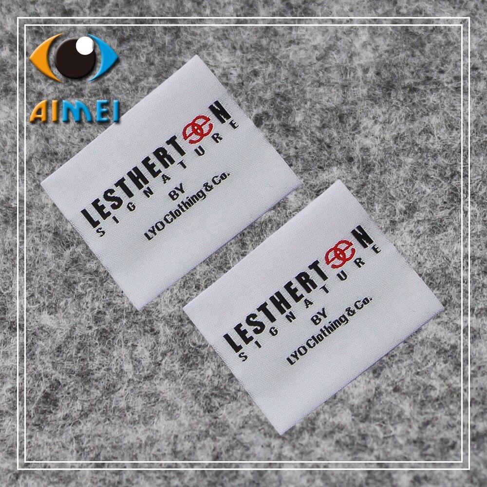 Aangepaste Hoge dichtheid geweven labels met super sonic cut edge voor textiel Kledingstuk tags schoenen accessoires Jurk geborduurd tag-in Kledinglabels van Huis & Tuin op  Groep 2