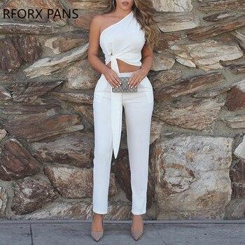 Λευκό σύνολο – Μπλούζα με ένα ώμο έξω και παντελόνι