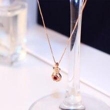 Женское ожерелье с подвеской цепочкой из розового золота кулоном