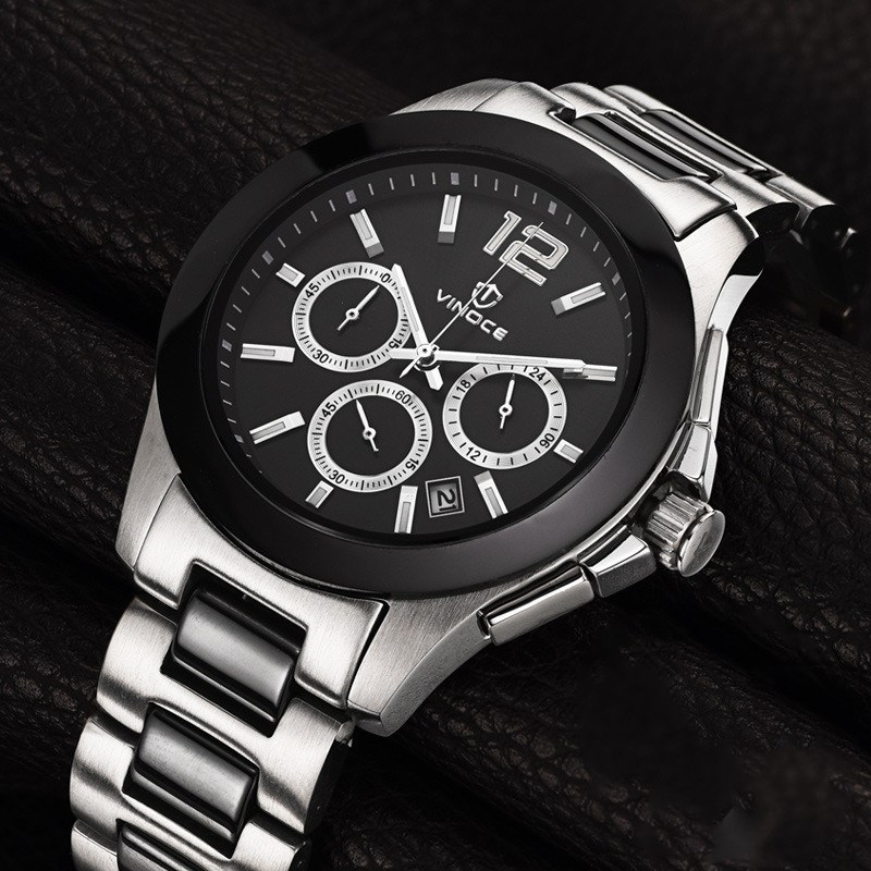 VINOCE Mens Watches Top Brand Luxury Military Sport Quartz Watch Men Chronograph Luminous Hands Male Clock relogio masculino противень nadoba rada