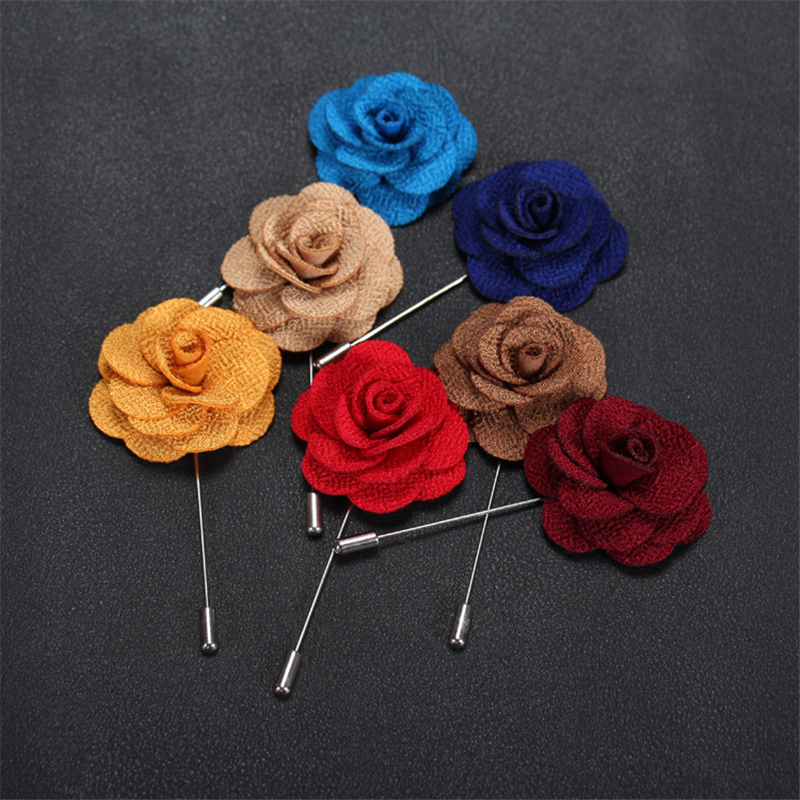 Brooch Flower Lapel Pin 18 Colors Women Men Fabric Rose