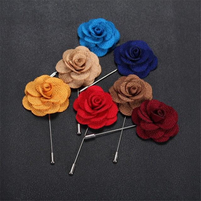 e9f7334cfb909 Brooch Flower Lapel Pin 18 Colors Women Men Fabric Rose Brooches Dress  Accessories Wedding Party Formal Tuxedo Lapel Flower