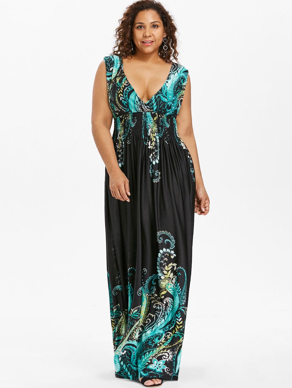 Wipalo Summer Paisley Plunge V Neck Bohemian Plus Size Women Dress ... c57c7e9e30c2