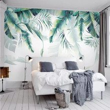 Nordic wallpaper simple hand-painted banana leaves TV background high-end mural