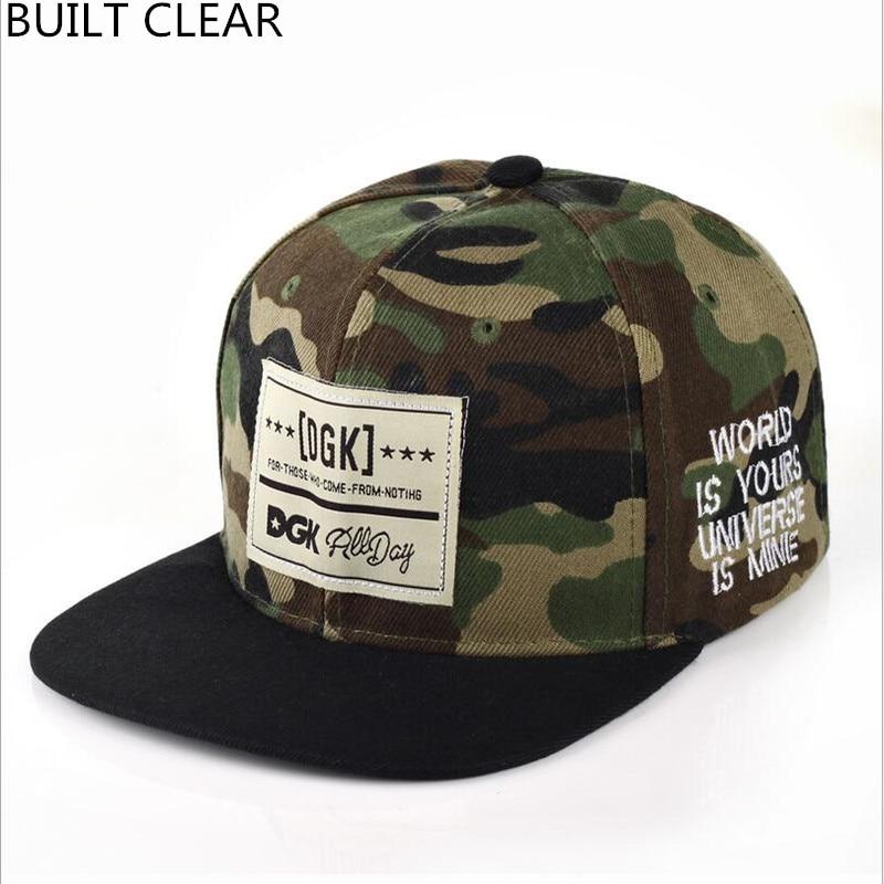 (BUILT CLEAR) snapback hot camouflage patch DGK baseball cap casual men and women outdoor street hip hop hat casquette