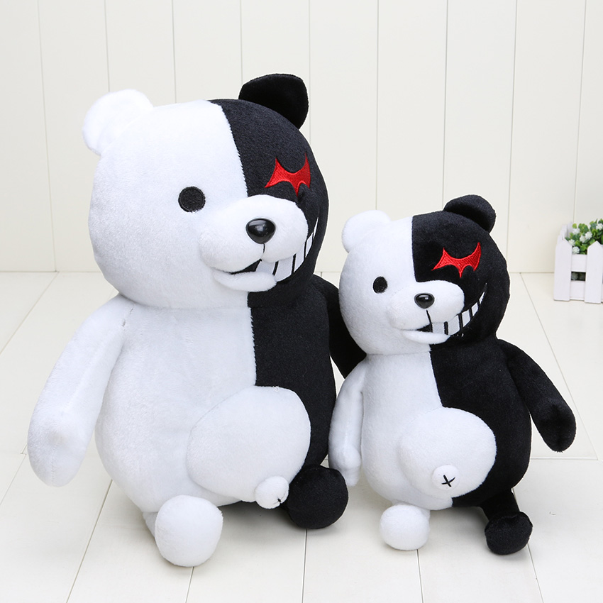 Dangan ronpa super danganronpa 2 monokuma preto & branco urso de pelúcia brinquedo macio pelúcia bonecas animais presente natal