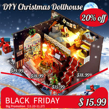 Miniature Christmas Carnival Night Dollhouse DIY Wooden Dolls House With LED Light Furniture Kits DIY Gift Toys For Children(China)