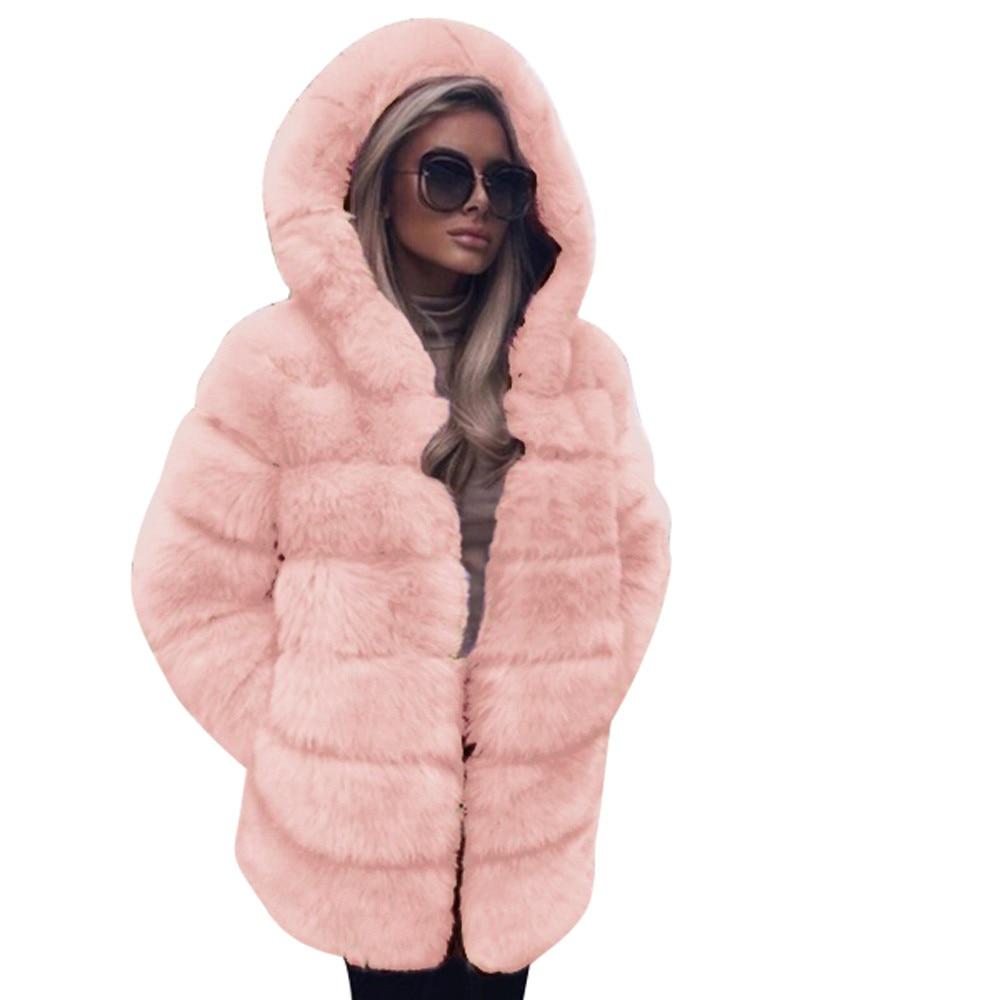 Capucha pink Otoño De Con Moda Bombardero Sintética Chaqueta Piel Lujo 2018  Invierno Abrigo Cálido Para Casual Green Mujer PqqwT7d 8cfc4d893115