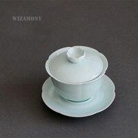 Hot Sale WIZAMONY Chinese Porcelain Celadon Gaiwan Tea Set Teapot High Quality For Puer Tea Large