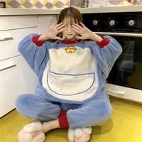 Sweet Women's Super Cute Doraemon Anime Japanese Thicken Furry Lounge Pajamas Sets Lolita Winter Warm Blue Sleepwear Homewear