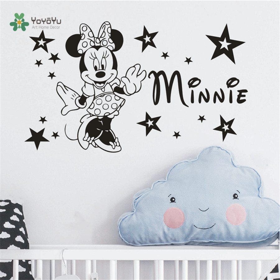 Custom Name Girls Minnie Mouse Wall Decal Nursery Kids Name Bedroom Cartoon Wall Decor Sticker Art Vinilos Wallpaper NY-394