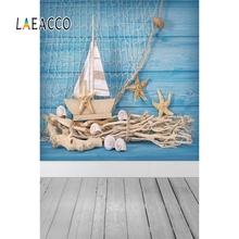 Laeacco Summer Seaside Planks Sailboat Shell Visor Scene Photographic Backdrop Baby Photography Background Wall For Photo Studio